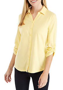 Kim Rogers® Petite Roll-Tab Sleeve Button Down Top