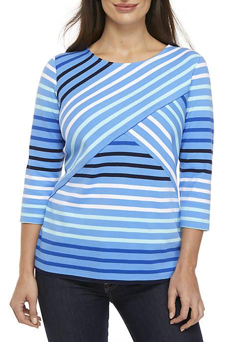 Kim Rogers® Petite 3/4 Sleeve Striped Top