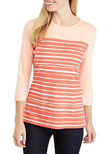 Kim Rogers® Petite 3/4 Sleeve Stripe Crew Top