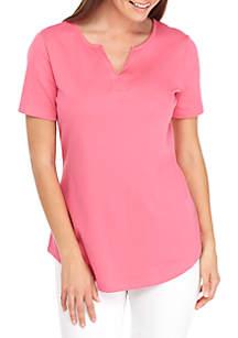 Kim Rogers® Petite Short Sleeve Y-Neck Top