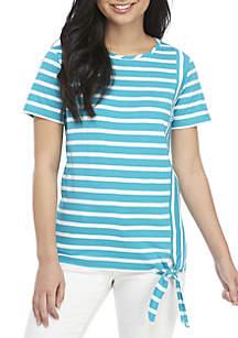 Kim Rogers® Petite Short Sleeve Stripe Tie Top