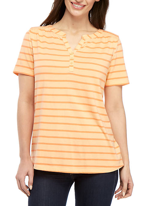 Kim Rogers® Petite Short Sleeve Stripe Henley Top