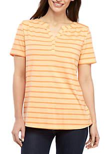 Kim Rogers® Petite Short Sleeve Stripe Henley Top
