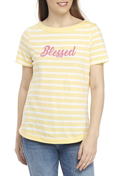 Kim Rogers® Petite Short Sleeve Stripe Graphic Top