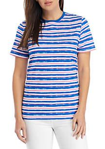 Kim Rogers® Petite Short Sleeve Crew Stripe Top