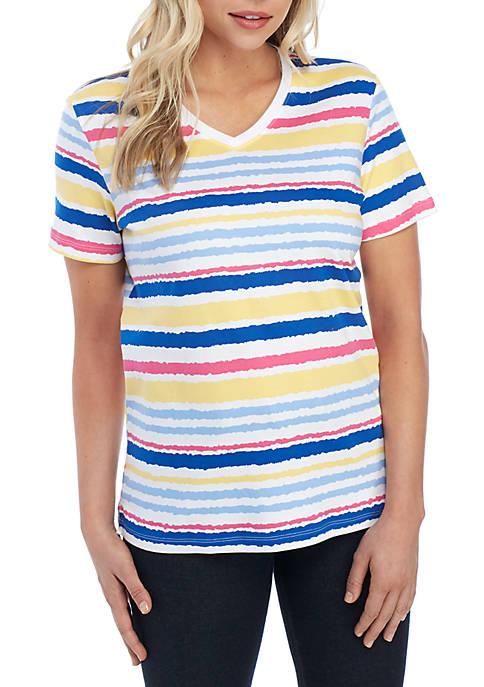 Kim Rogers® Petite Short Sleeve V Neck Stripe
