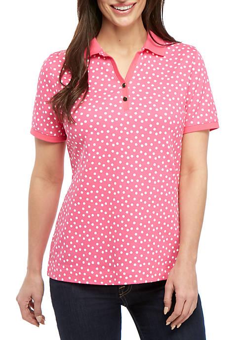 Kim Rogers® Petite Short Sleeve Dot Print Top