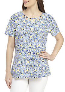 Kim Rogers® Petite Short Sleeve Neck Detail Medallion Print Top