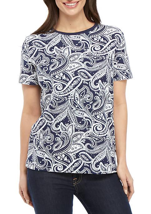 Kim Rogers® Petite Short Sleeve Paisley Print Top