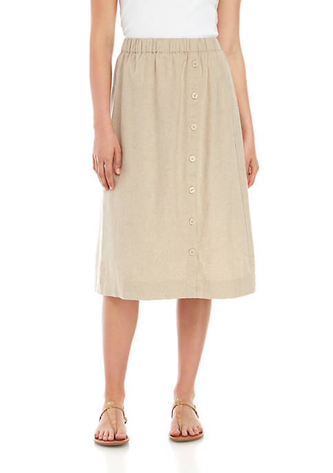 Kim Rogers® Petite Linen Button Front Midi Skirt