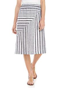 Kim Rogers® Petite Linen Stripe Midi Skirt