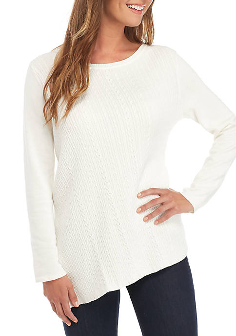 Petite Long Sleeve Cable Crew Sweater