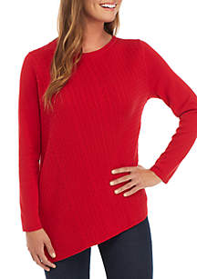8efa1831f87 THE LIMITED Petite Funnel Neck Crop Sweater · Kim Rogers® Petite Long  Sleeve Cable Crew Sweater