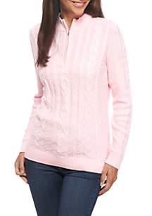 Petite Long Sleeve Zip Mock Neck Sweater