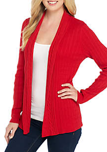 Petite Long Sleeve Cable Cardigan Sweater