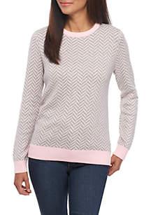 Petite Long Sleeve Cable Herringbone Print Sweater