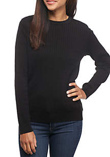 Kim Rogers® Petite Long Sleeve Cable Knit Crew Neck Sweater