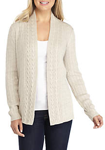 Petite Long Sleeve Cable Heather Cardigan