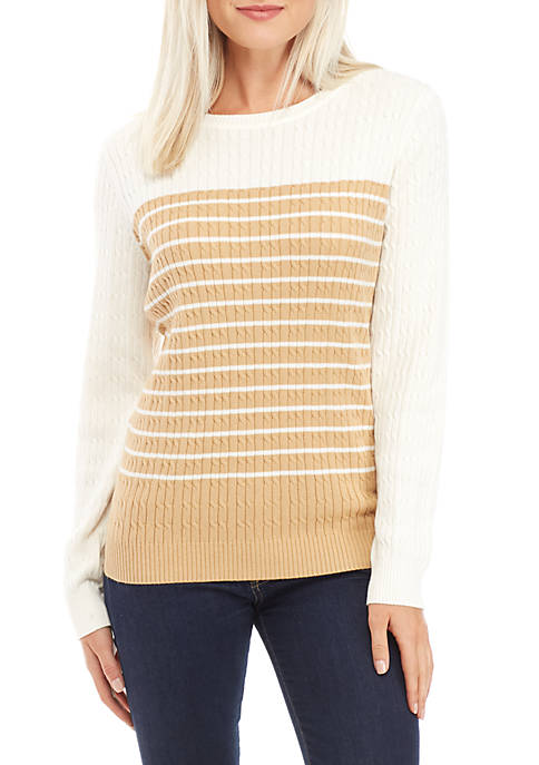 Petite Long Sleeve Crew Neck Cable Sweater
