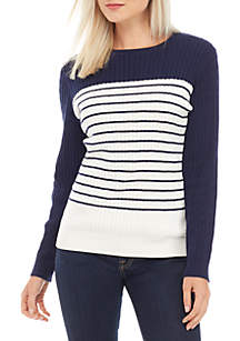 Kim Rogers® Petite Long Sleeve Crew Neck Cable Sweater
