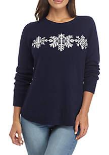 Petite Solid Snowflake Sweater