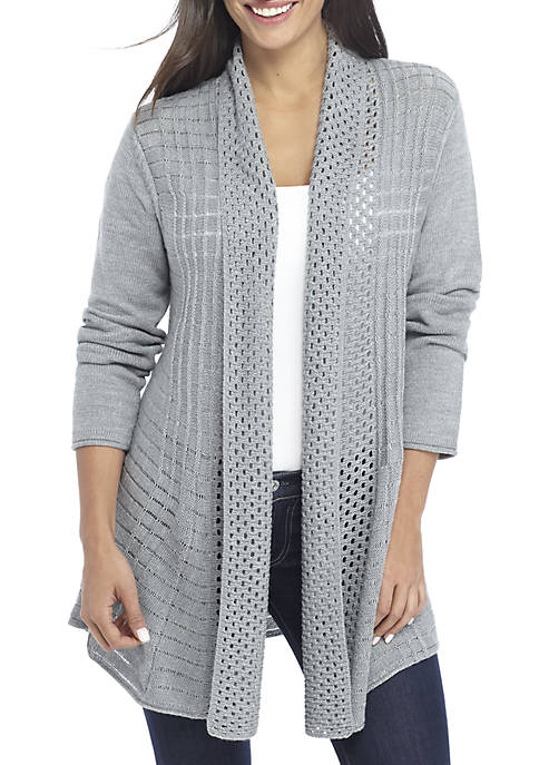 Kim Rogers® Petite Fan Stitch Heather Cardigan