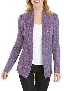 Kim Rogers® Petite Marled Cable Knit Cardigan