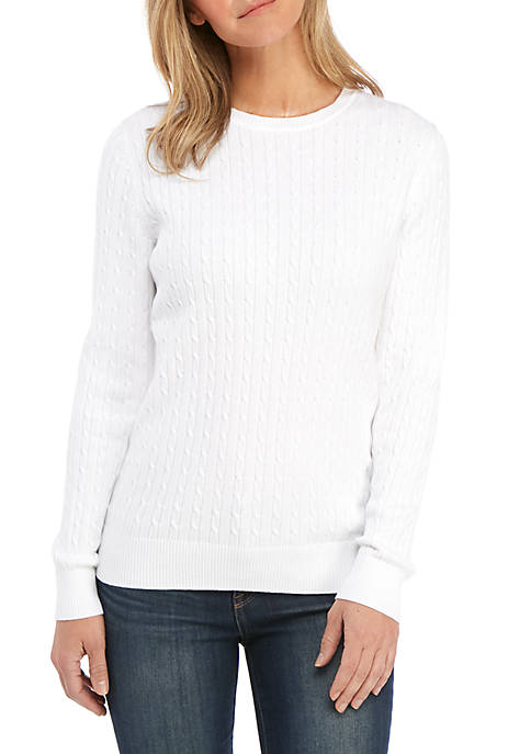 Kim Rogers® Petite Solid Crew Cable Knit Sweater