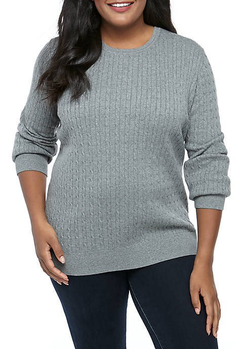 Petite Cable Knit Heather Sweater