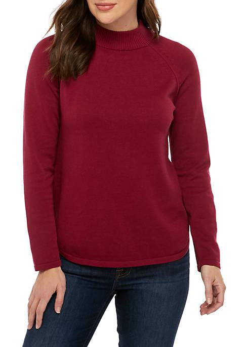 Petite Long Sleeve Mock Neck Sweater