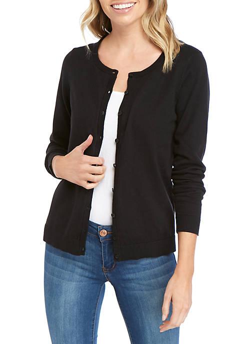 Petite Long Sleeve Solid Cardigan