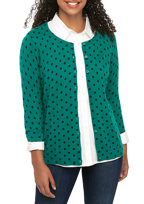 Kim Rogers® Petite Long Sleeve Button Front Cardigan
