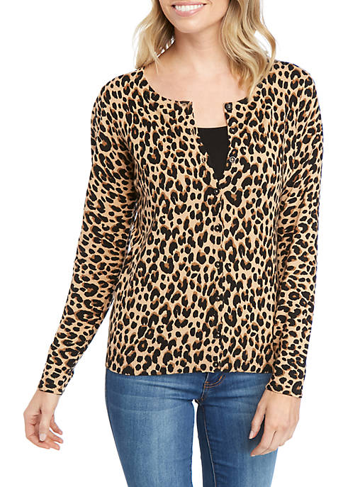 Kim Rogers® Petite Long Sleeve Printed Cardigan