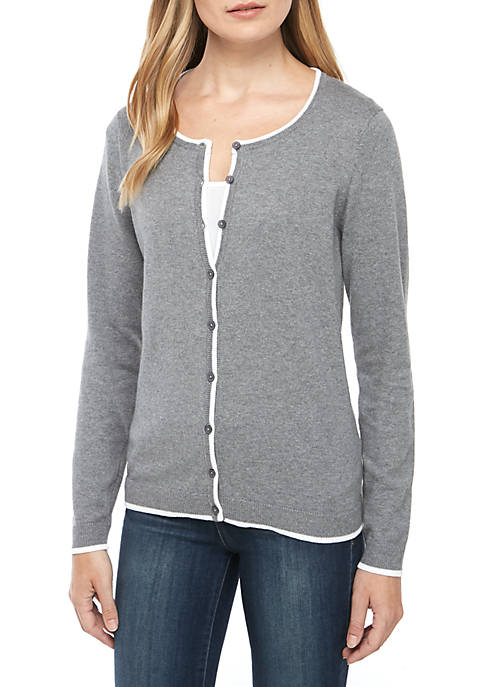 Kim Rogers® Petite Long Sleeve Heather Tipped Cardigan
