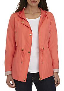 Petite Solid Long Sleeve Anorak Jacket