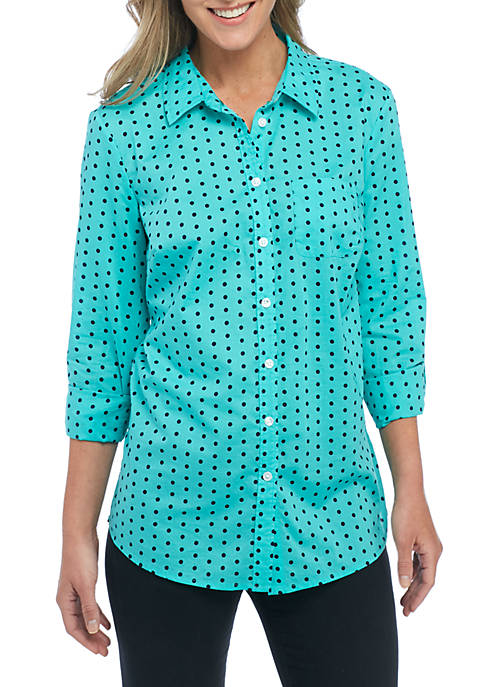 Kim Rogers® Petite Roll Sleeve Printed Button Down