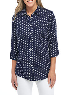 Petite Roll Sleeve Printed Button Down Top