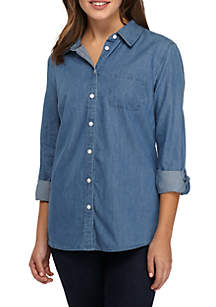Petite Roll-Sleeve Chambray Top