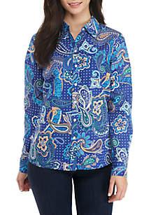Petite Long Sleeve Easy Care Paisley Printed Shirt