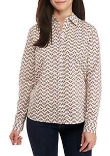 Kim Rogers® Petite Long Sleeve Easy-Care Geometric Print Shirt