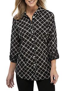 Kim Rogers® Petite Roll-Tab Sleeve Cambric Print Top