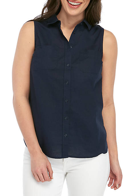 Kim Rogers® Petite Sleeveless Pocket Button Front Top
