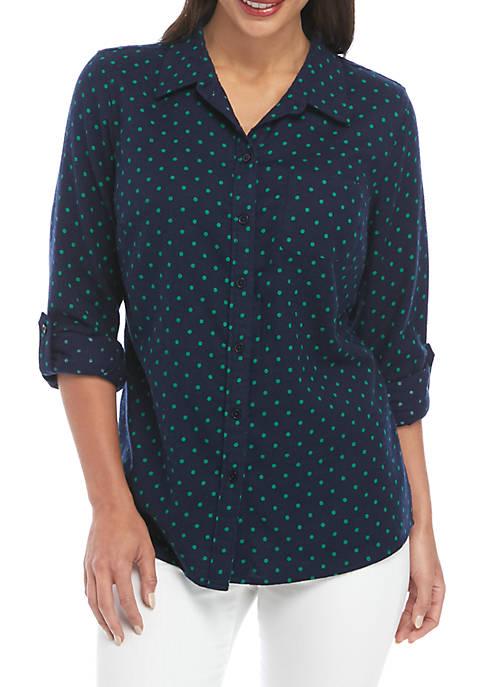 Kim Rogers® Petite Roll Tab Flannel Shirt