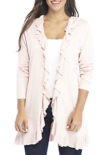 Petite Long Sleeve Ruffle Solid Cardigan