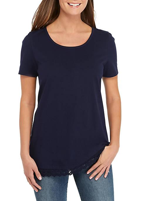 Short Sleeve Lace Hem Tunic