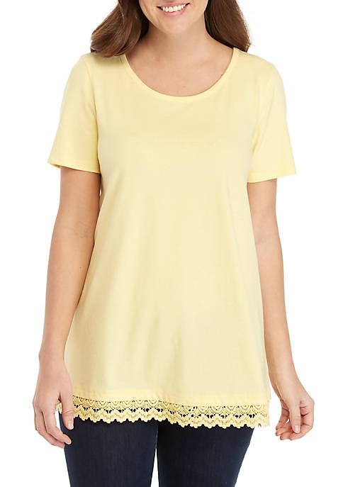 Kim Rogers® Short Sleeve Lace Hem Tunic