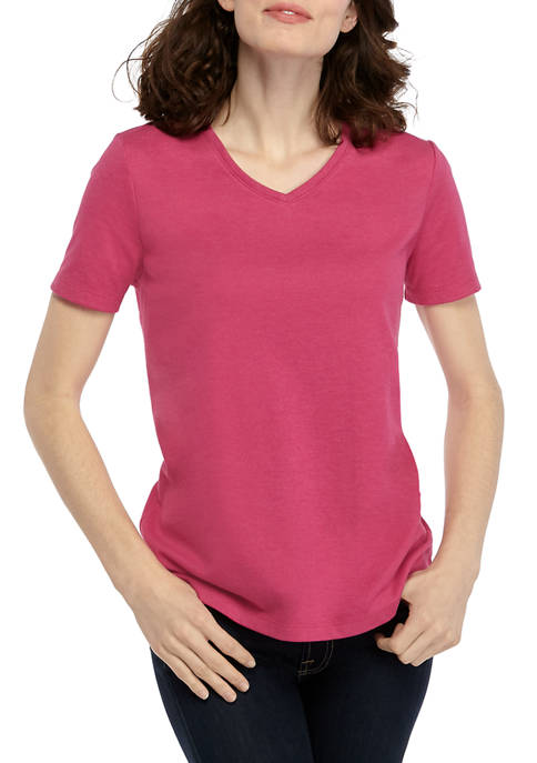 Kim Rogers® Womens Perfectly Soft Short Sleeve V-Neck