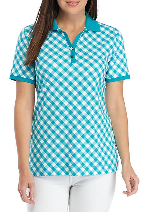 Short Sleeve Bias Print Polo Top