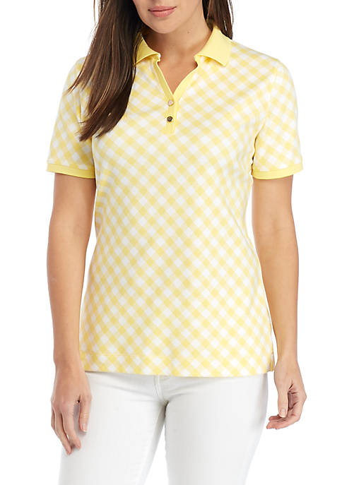 Kim Rogers® Short Sleeve Bias Print Polo Top