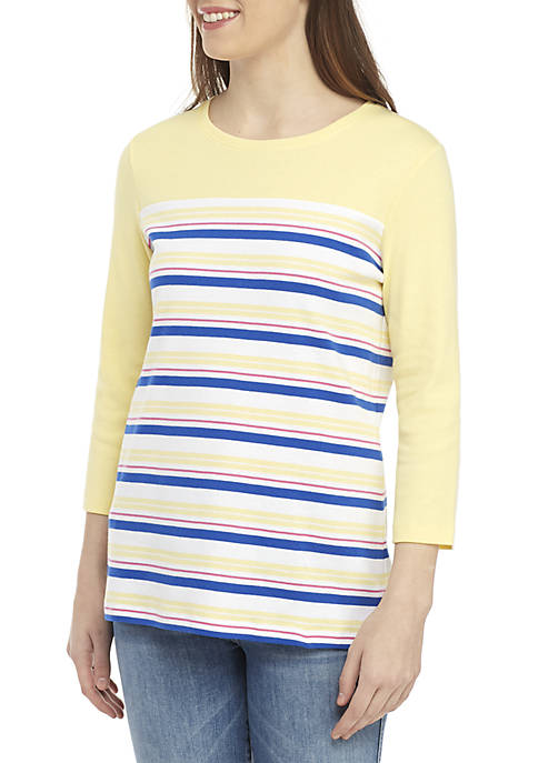 Kim Rogers® 3/4 Sleeve Stripe Colorblock Top